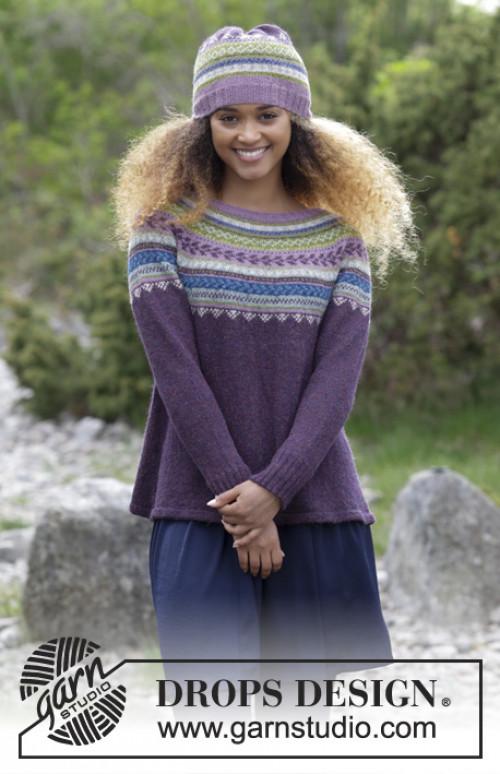 Blueberry Fizz genser og lue fra Drops 180-7