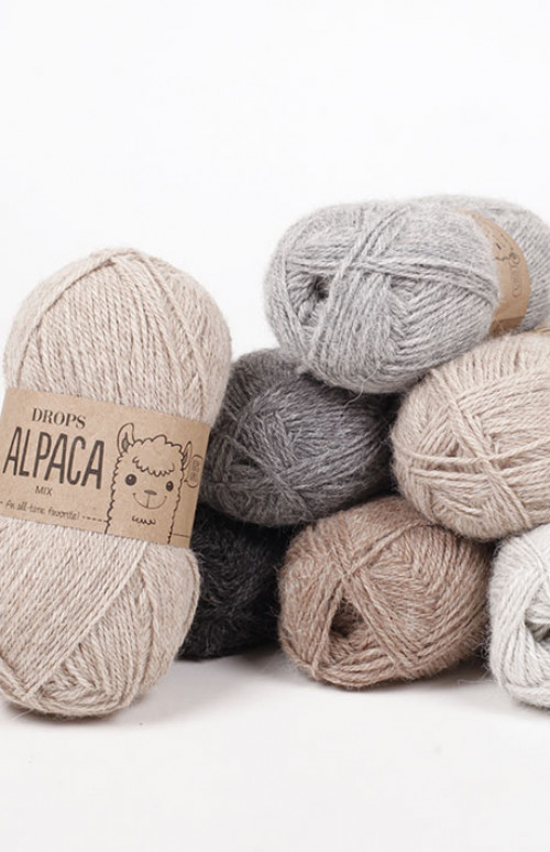 Drops Alpaca uni colour - 6309 Turkis / grå