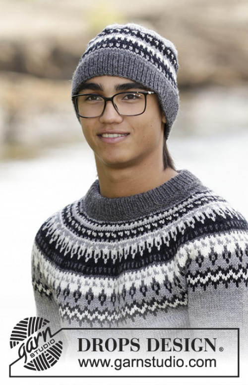 Riddari inspirert strikkegenser og lue Dalvik  - Drops 185-1