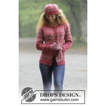 Rosendal jakke med lue og votter fra Drops 181-1