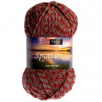 Viking garn - Sportsragg 560 - Rød / Grå