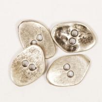 Avlang sølvfarget metallknapp 20mm - Drops 534