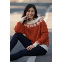Lydia genser - Viking 2019-B Brent orange / Naturhvit