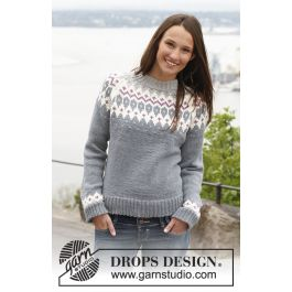 Diamond Rose strikkegenser med raglan til dame Drops 141 41