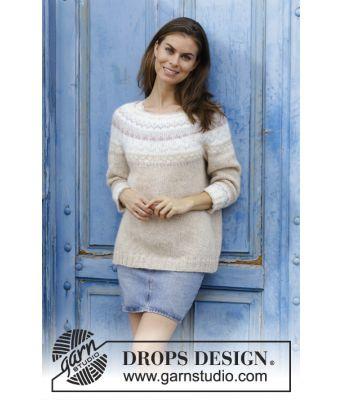 Nougat strikket genser med rundfelling - Drops 191-12