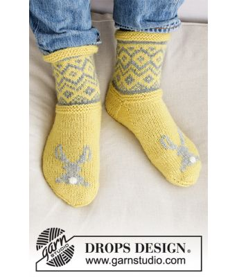 Bunny Hide sokker med påskehare - Drops 0-1421