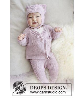 Hello Kitten rosa hentesett til baby med lue, jakke og bukse - Drops Baby 29-9
