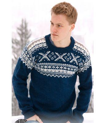 Nordic Midnight strikket setesdalsgenser til mann - Drops 0-809