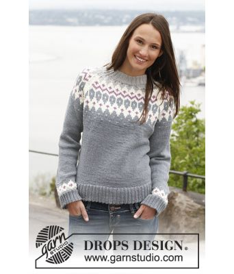 Diamond Rose strikkegenser med raglan til dame - Drops 141-41