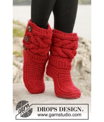 Little Red Riding Slippers strikkede tøfler - Drops 150-4