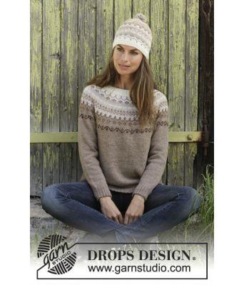 Talvik lys beige strikkegenser med rundfelling og strikkelue - Drops 197-10