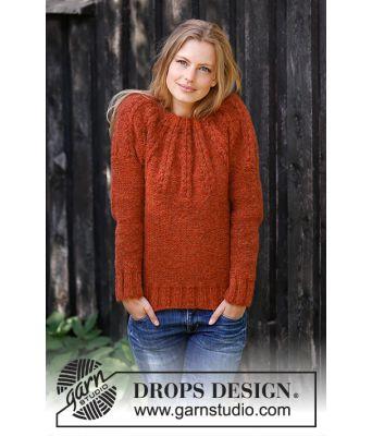 Clemence strikkegenser med rundt bærestykke - Drops 197-8