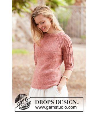 Evening Glow strikket genser med korte ermer med hullmønster - Drops 212-1