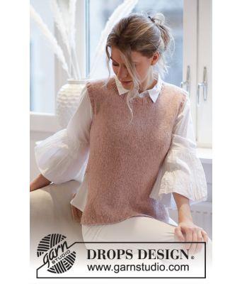 Rose Blush strikket vest med vrangborder og splitt i sidene - Drops 212-44
