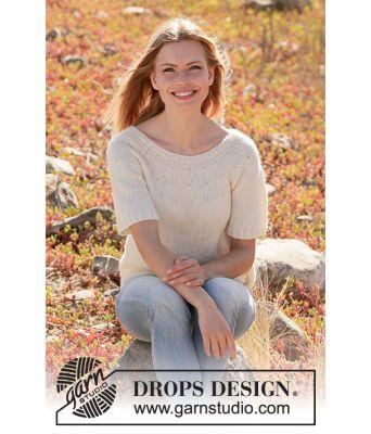 White Dove hvit strikkegenser med korte ermer - Drops 213-3