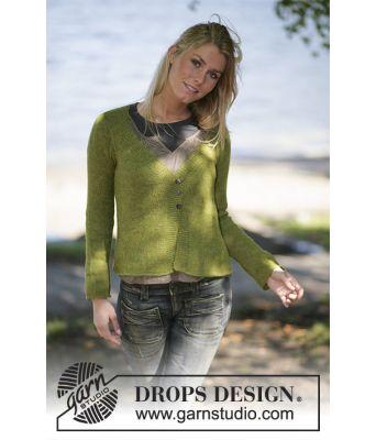 Swing innsvinget strikkejakke med v-hals i alpakkaull - Drops 97-18