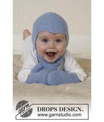 Baby Aviator strikket lue, skjerf og votter til baby - Drops baby 14-16