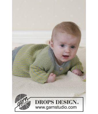 Little Fern rillestrikket babyjakke og babybukse - Drops baby 14-27