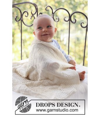 Petit Prince strikket babyteppe med strukturmønster - Drops baby 18-16