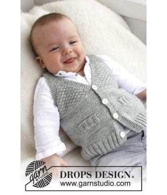 Junior strikket vest med v-hals og strukturmønster - Drops baby 21-8