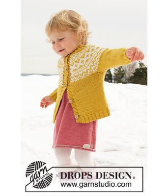 Little Missy gul barnekofte i ull med rundfelling - Drops children 32-8