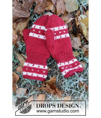 Candy Cane Lane barnevotter i julefarger - Drops Children 34-36