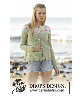 Spring Valley strikkejakke med bølgemønster og rundfelling - Drops 175-8