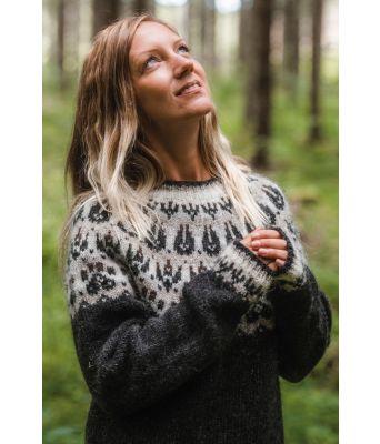 Slodir grå islandsgenser til dame med poteavtrykk - Jarbo 92433