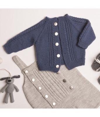Lasse strikkejakke til baby med romper - Viking 1802-8