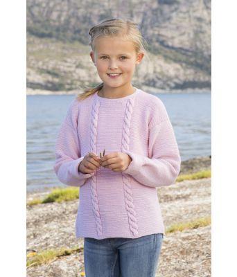Malva rosa strikkegenser til jente med fletter - Viking 1612-5