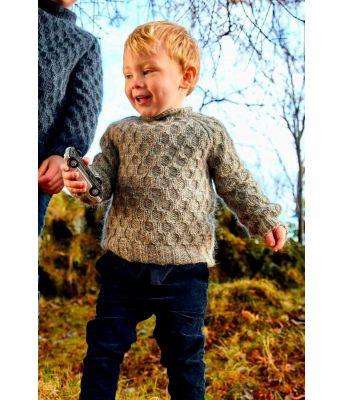 Hnokki grå islandsk strikket barnegenser - Lopi 37-1