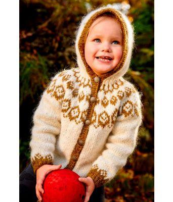 Hvoll naturhvit strikket barnejakke med hette - Lopi 37-3