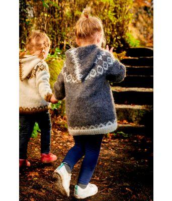 Hvoll grå strikkejakke med hette til barn - Lopi 37-3