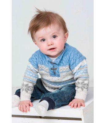 Blå strikkegenser til babygutt - Viking 1305-23