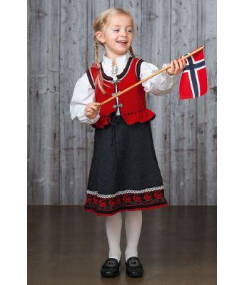 Alexandra rød strikket festdrakt til jente - Viking 1603-2A