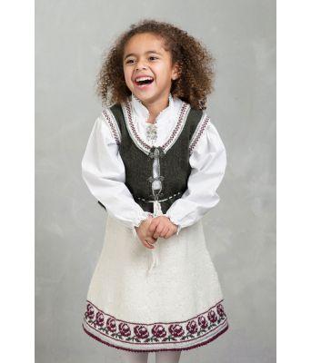 Alexandra hvit festdrakt / bunad strikkepakke - Viking 1603-2B