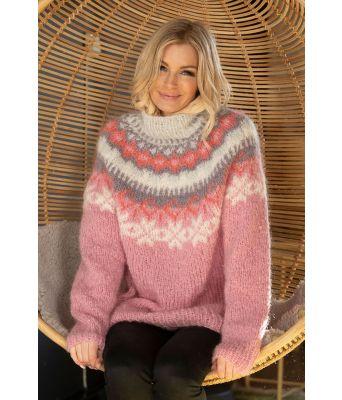 Nova genser rosa strikkegenser fra Kathrine Sørland - Viking 1909-2