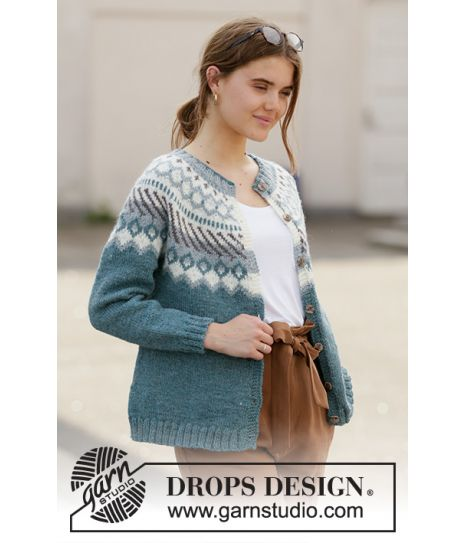 Mina Cardigan by DROPS Design Jakke Strikkeoppskrift str. S XXXL