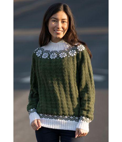 Lydia genser Viking 2019 D Mørk grønn Hvit